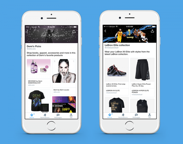 Beispiel Twitter Product Collections