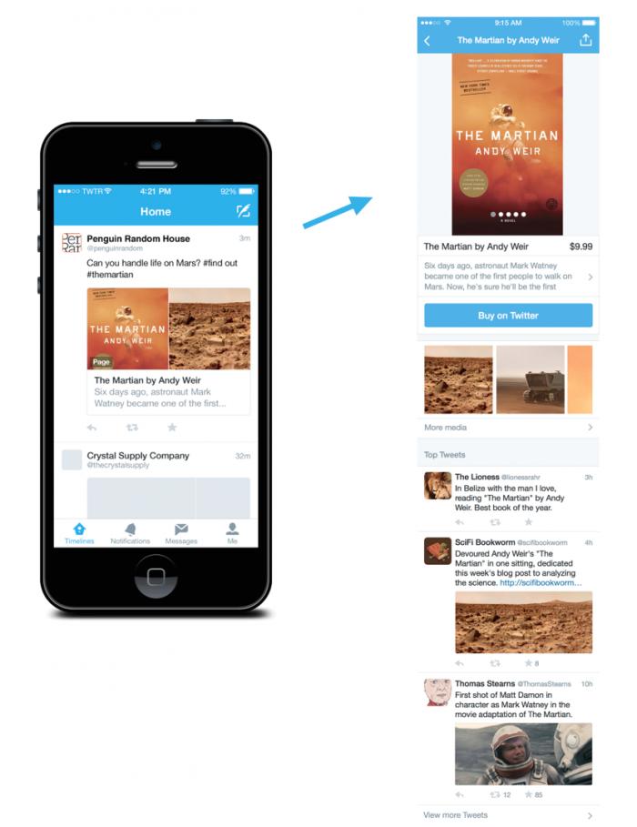 Beispiel der neuen Twitter Product Page
