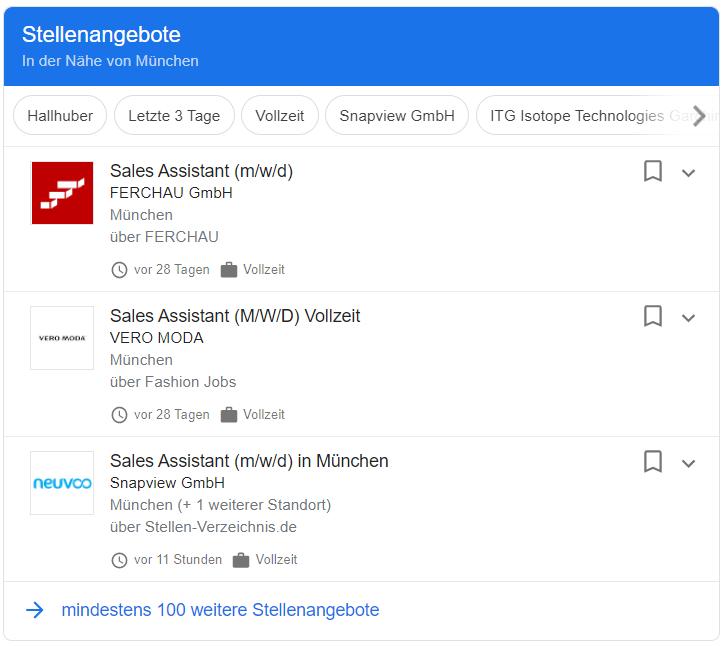 Google For Jobs - Anzeige Beispiel