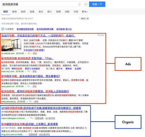SERPS in Baidu Bild